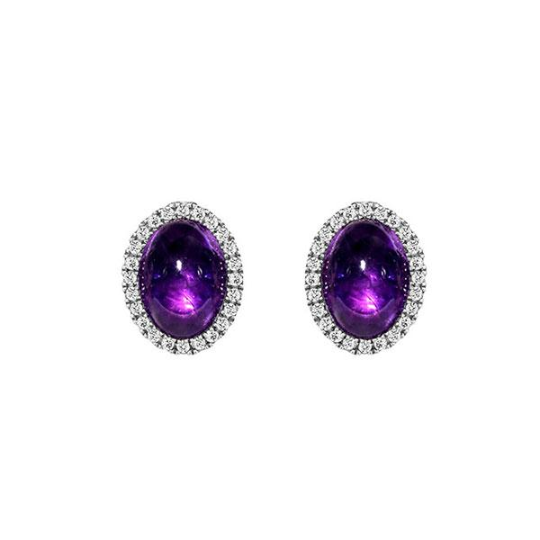 Temptation 9Ct White Gold Amethyst Earrings