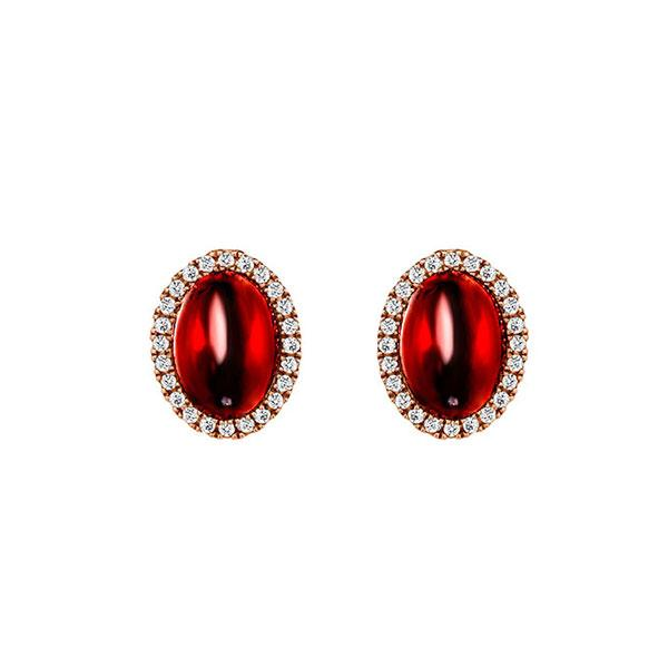 Temptation 9Ct Rose Gold Garnet Earrings