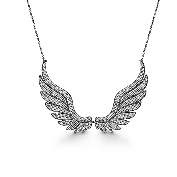 Kranz & Zeigler Black Rhodium Wings Necklace