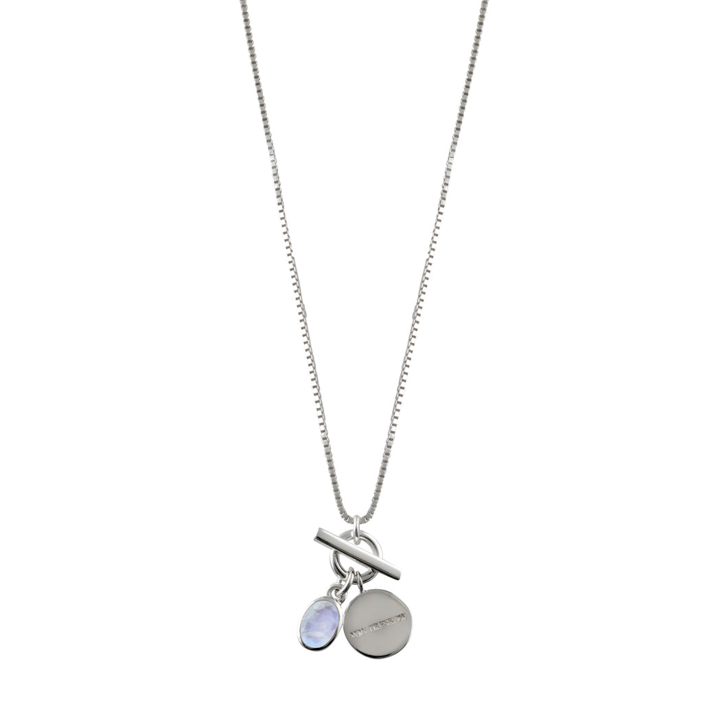 Von Treskow Box chain necklace with toggle and moonstone