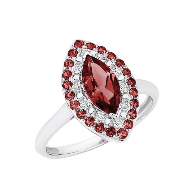 Temptation 9Ct White Gold Garnet Ring