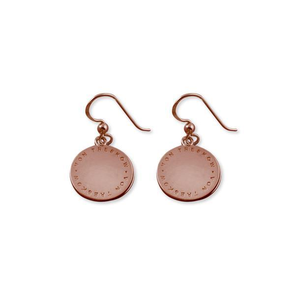 Rose gold plated Von Treskow Plate earrings (circular text) - Von Treskow