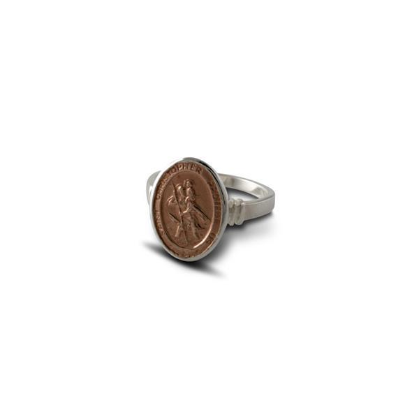 Von Treskow Rose gold st christopher ring