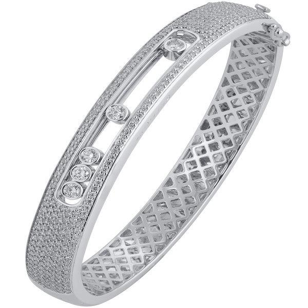 Slyde 18ct white gold 7 row pave sliding diamond bangle.