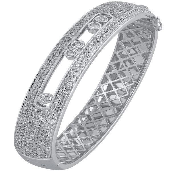 Slyde 18ct white gold 9 row pave sliding diamond bangle.