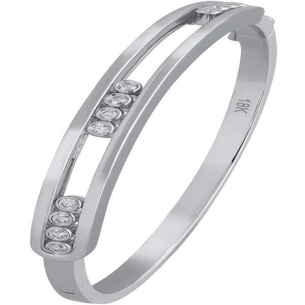 Slyde 18ct white gold sliding diamond plain fixed sections bangle.