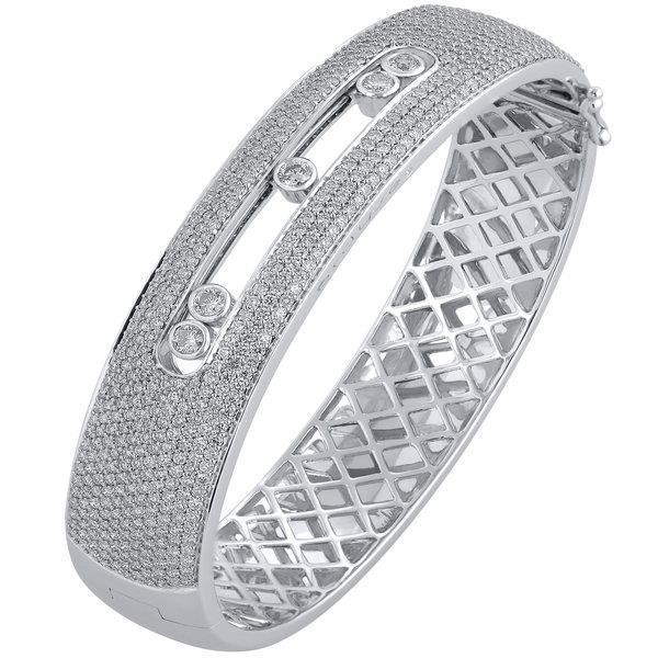 Slyde 18kt white gold 11 row pave sliding diamond bangle.