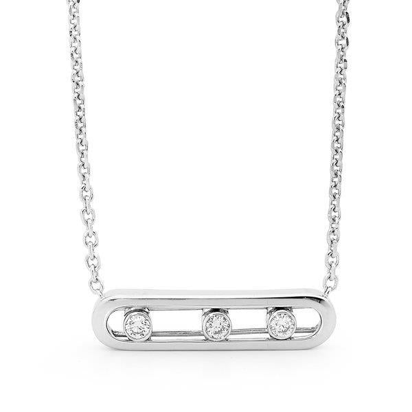 Slyde 9ct white gold medium sliding diamond pendant.