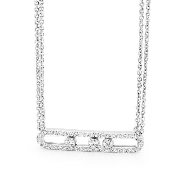 Slyde 9kt white gold large sliding diamond pendant.