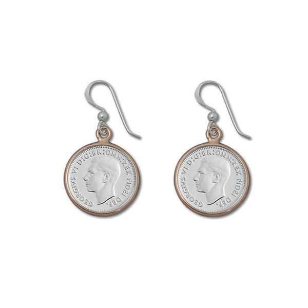 Sterling Silver 3 Pence Coin Earrings w/ Rose Bezel- Von Treskow