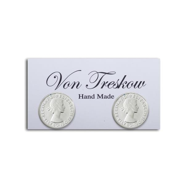 Sterling Silver 3 Pence Stud Earrings- Von Treskow