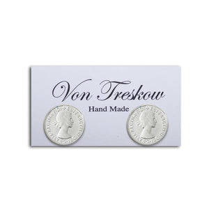 Von Treskow Sterling Silver 3 Pence Stud Earrings