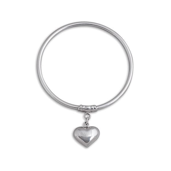 Sterling Silver 3mm Bangle w/ Small Puffy Heart- Von Treskow