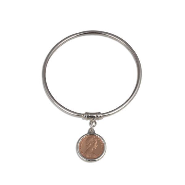Sterling Silver 3mm Bangle w/ one cent coin- Von Treskow