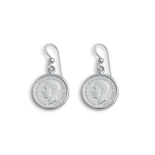 Sterling Silver Authentic 3 Pence Coin Earrings- Von Treskow