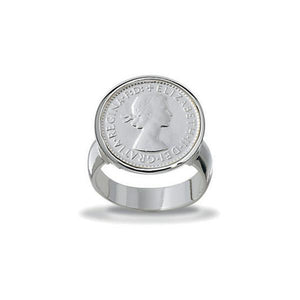 Von Treskow Sterling Silver Authentic 3 Pence Coin Ring