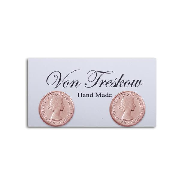Sterling Silver/Rose Gold Plated 3 Pence Stud Earrings- Von Treskow