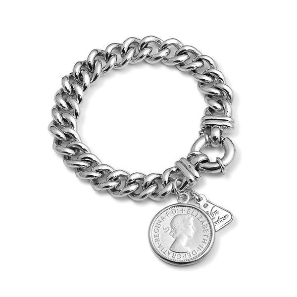 Sterling Silver Small Mama Bolt Bracelet w/ Shilling Coin- Von Treskow
