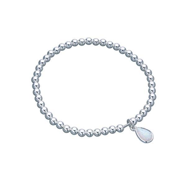 Sterling silver 4mm stretchy ball bracelet with pear shape Czelline Opal - Von Treskow