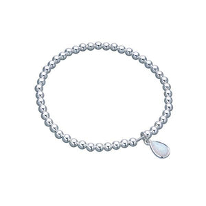 Von Treskow Sterling silver 4mm stretchy ball bracelet with pear shape Czelline Opal