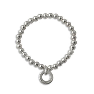 Von Treskow Sterling silver 6mm ball stretchy bracelet with Von Treskow disc