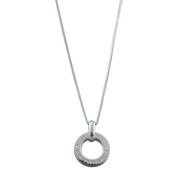 Von Treskow Sterling silver adustable box chain necklace with Von Treskow Disc - adjustable up to a length of 58cm