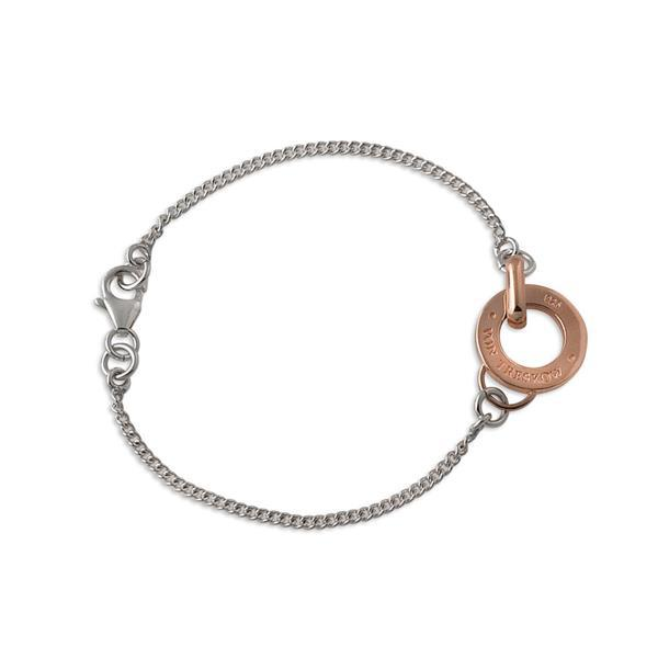 Sterling silver curb chain bracelet with rose gold Von Treskow disc