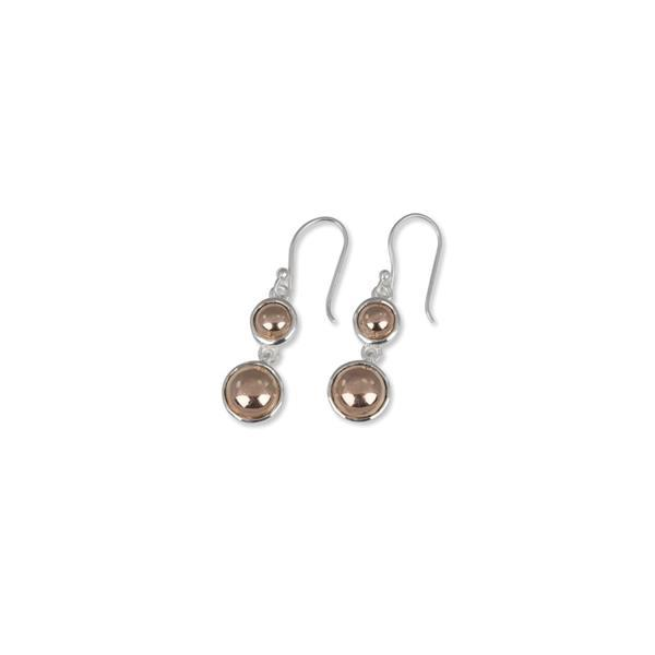 Sterling silver & gold filled double round hook earrings- Von Treskow