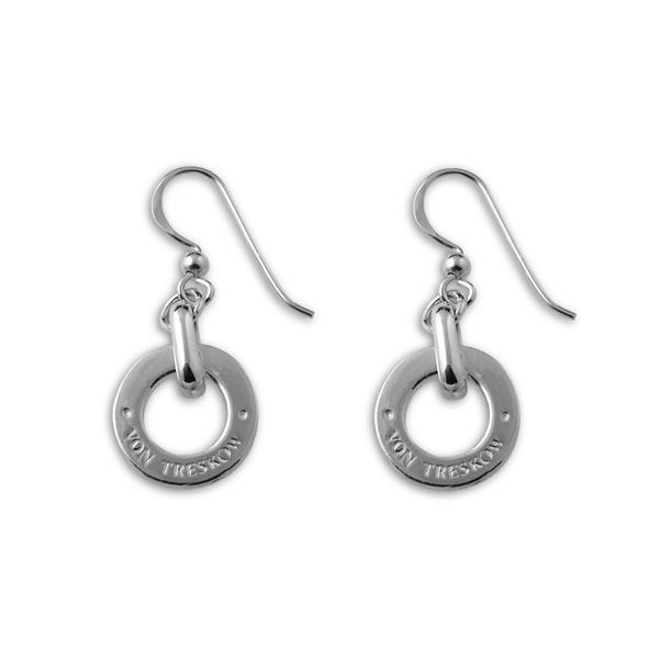 Sterling silver hook earrings with sterling silver Von Treskow disc
