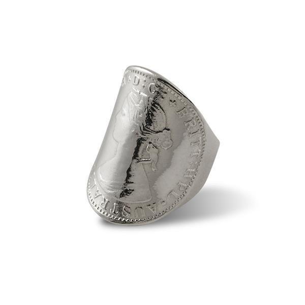 Sterling silver large curved coin ring (Queen)- Von Treskow