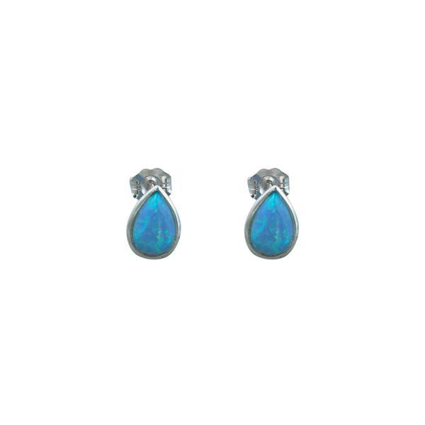 Sterling silver pear shaped blue Czelline opal studs - Von Treskow