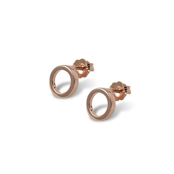 Sterling silver, rose gold plated medium open circle stud earrings- Von Treskow