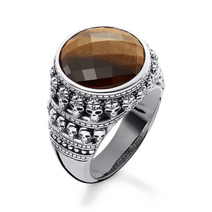THOMAS SABO Skull Ring Tiger's Eye Men