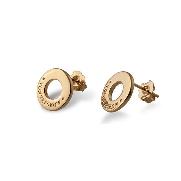 Yellow gold plated Von Treskow disc stud earrings