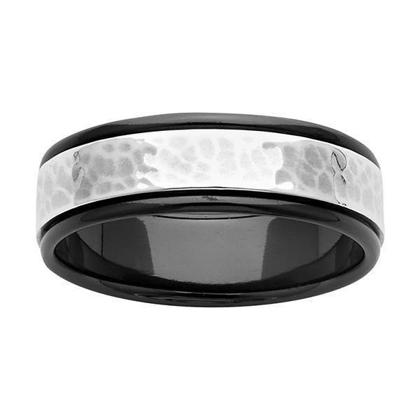 ZiRO Black Zirconium and Sterling Silver Ring