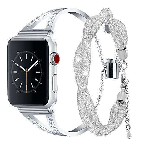 Inno-Huntz Dressy Stainless Steel Bracelets Compatible with Apple Watch 38mm 40mm 42mm 44mm for iPhone Band Series 4 3 2 1 I Watch Jewelry Metal Tassel Wristband Womens