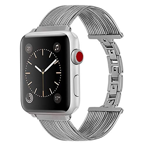 Inno-Huntz Stainless Steel Compatible with Apple Watch Band 38mm 42mm Dressy Replacement Bracelet 40 mm Cute Fancy Set for Series 4 3 2 1 for Women Girl Luxury Jewelry