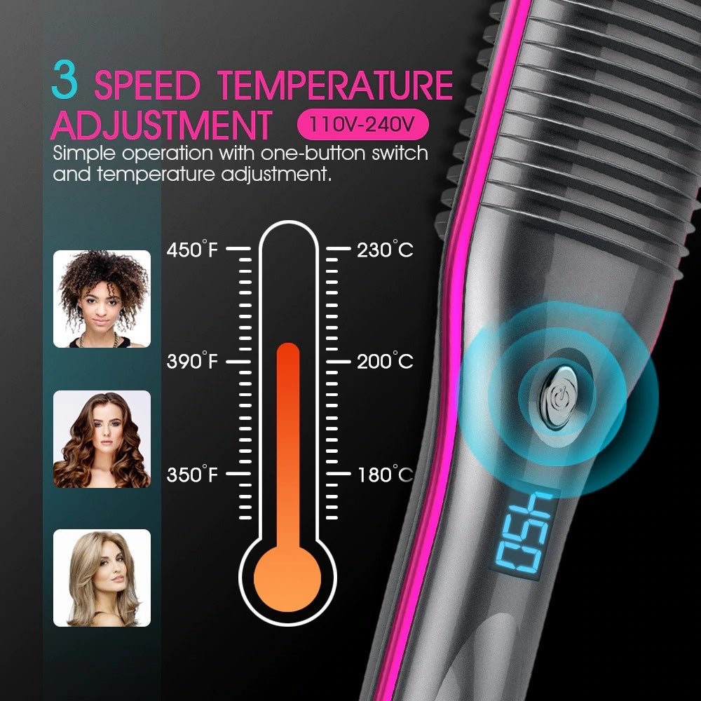 Hair straightening brush with 3 speed temperature adjustment