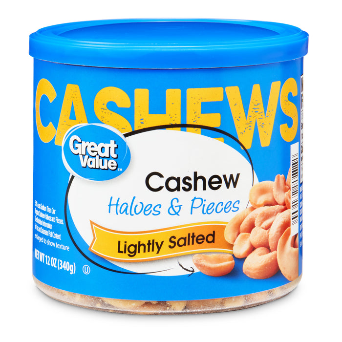 Great Value Lightly Salted Cashew Halves & Pieces, 12 oz