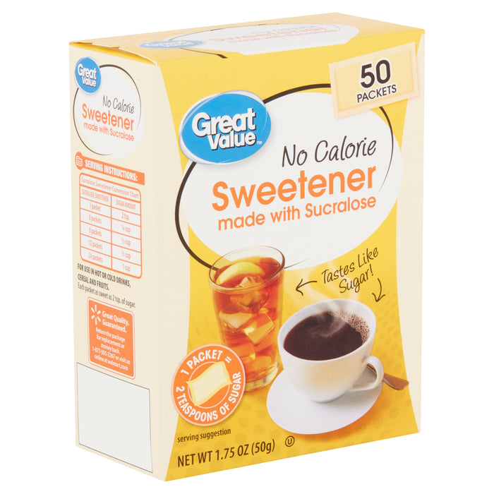 Great Value No Calorie Sweetener, 50 count, 1.75 oz