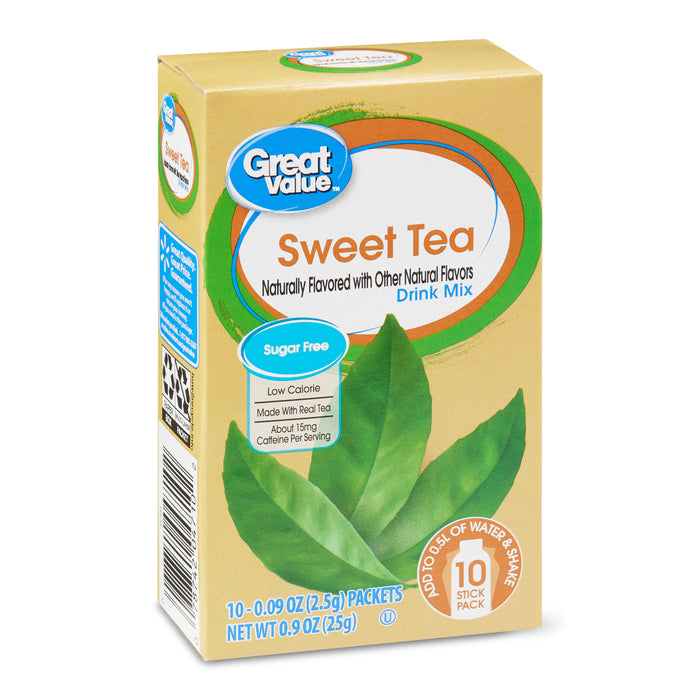 Great Value Sweet Tea Drink Mix, 0.09 oz, 10 count