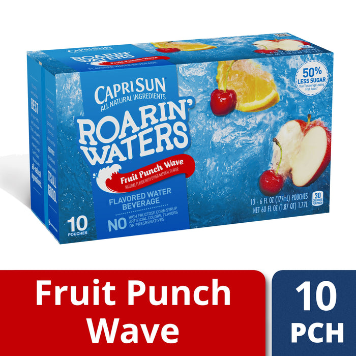 Capri Sun Roarin' Waters Fruit Punch Wave Flavored Water, 10 ct - Pouches, 60.0 fl oz Box