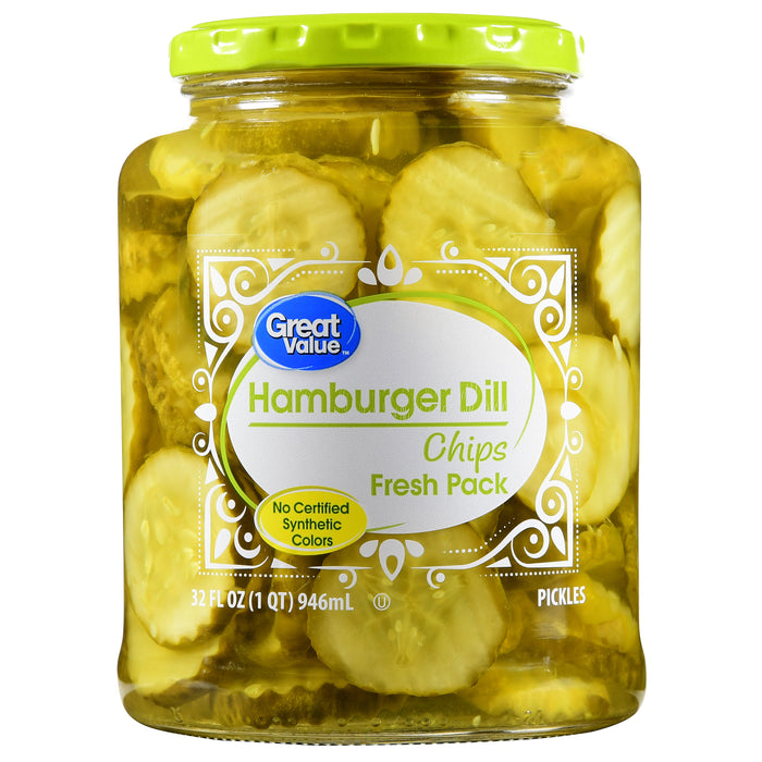 Great Value Hamburger Dill Chip Pickles, 32 fl oz
