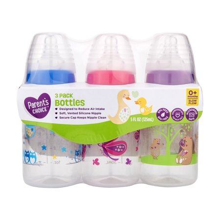 Parent's Choice BPA Free Bottles, 5 oz, 3 Pack - Colors May Vary