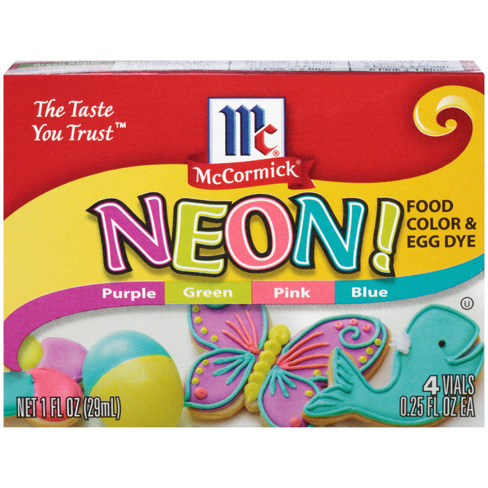 McCormick Neon Assorted Food Color & Egg Dye, 1 fl oz, 4 Count