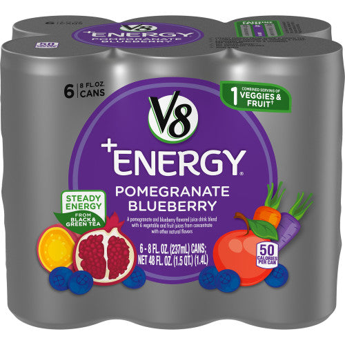 V8 +Energy, Healthy Energy Drink, Natural Energy from Tea, Pomegranate Blueberry, 8 Ounce Can (Pack of 6)