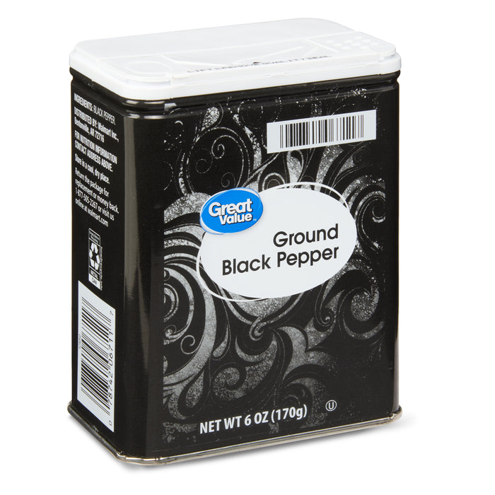 Great Value Ground Black Pepper, 6 oz