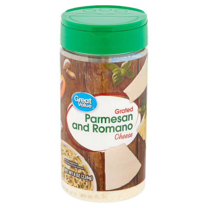Great Value Grated Parmesan and Romano Cheese, 8 oz