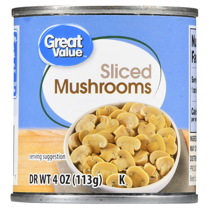 Great Value Sliced Mushrooms, 4 oz