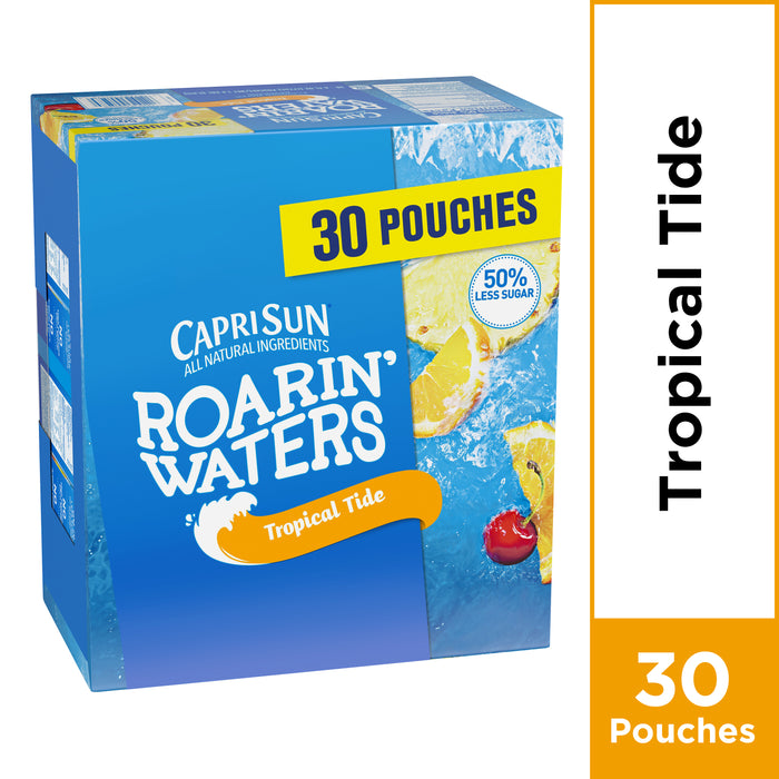 Capri Sun Roarin' Waters Tropical Tide Fruit Flavored Water, 30 ct - 6 fl oz Pouches